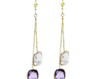 14k Yellow Gold Chandelier Gemstones Earrings with Cushion Cut Amethyst Stations