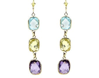 14k Yellow Gold Gemstone Earrings with Cushion Cut Amethyst, Blue Topaz And Lemon Quartz Stations