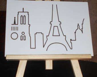 Map postcard monuments of Paris