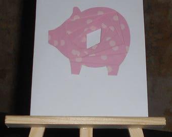 Pig in iris folding card