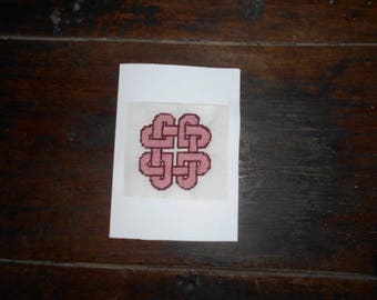 Hand embroidered card on canvas - Celtic knot heart
