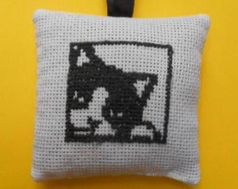 Hand - black cat embroidered Lavender sachet