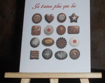 "Card ""I love you more than chocolate"""