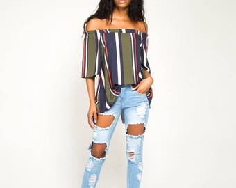 Olive Stripe Half Sleeve Bardot Top