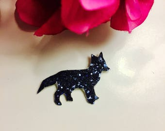 Brooch Fox glitter