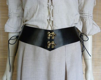 Black leather waist cincher belt