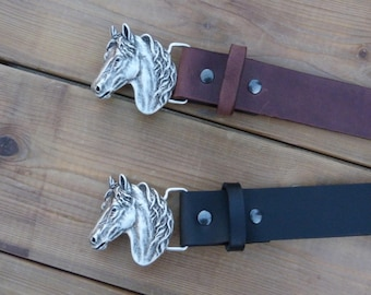 Brown leather belts aged or black, 40 mm wide