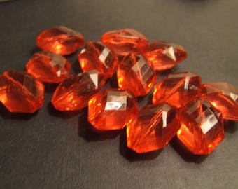 X 10 drops 22 x 15 x 11 mm FACETED red beads