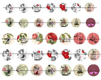 """Digital images """"Cages to birds"""" round 20-25 and 30mm"""