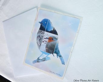 "Handmade double card ""a little Robin in the heart of winter"" 10 5x15cm """""