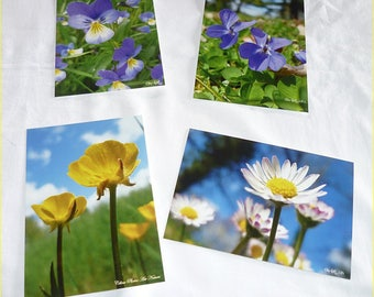 Set of 4 cards postcards 10x14cm lined with pictures of daisies, violets, pansies and gold buttons