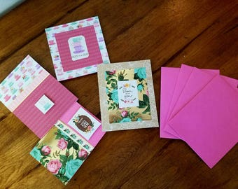 Love and Friendship cards, set of 4 measuring  approximately 5×4 and 4×4 handmade greeting cards. Teacups and flowers adorn these cards.
