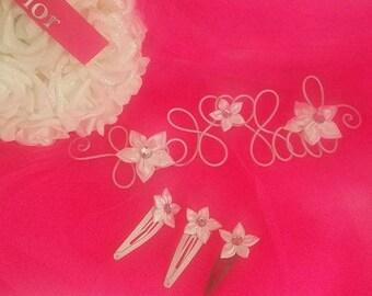 Pinch headband white with satin flower