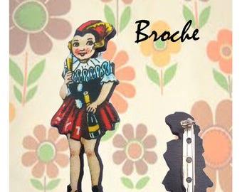 "Wooden brooch small Retro ""Lydia"""