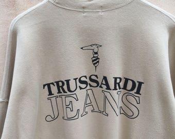 Rare! Vintage Trussardi Jeans Sweatshirt Big Spell Jumper Pullover 90s Rare Item