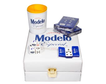 Modelo Beer Deluxe Set 3 Games: Dominó, Dice Cup, 2 Poker Cards