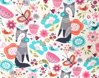Whimsical Floral Fox Fabric Odd Cut Piece 1