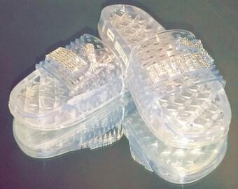 Puma Fenty Jelly Slides Clear w/ Swarovski Crystals