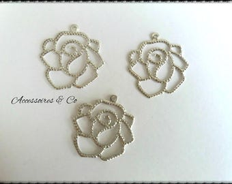 Set of 10 prints filigree silver flowers