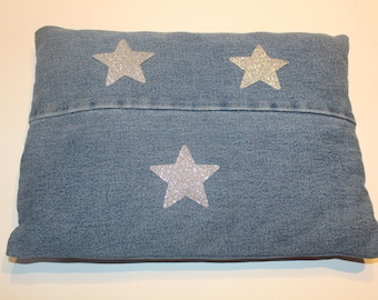 Personalized denim pillow