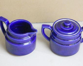 sugar & creamer, art deco, cobalt blue, Fraunfelter Ohio