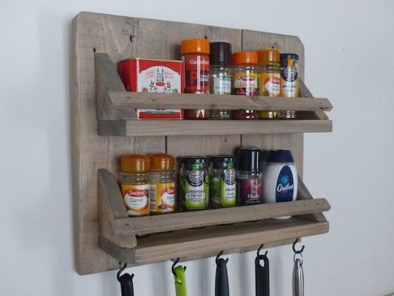 Porte pices et ustensiles de cuisine en bois - Ustensile de cuisine en bois ...