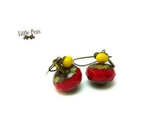Earrings red yellow Bohemian retro vintage
