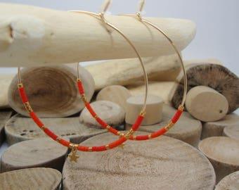 """""""Red & orange Miyuki"""" hoop"""