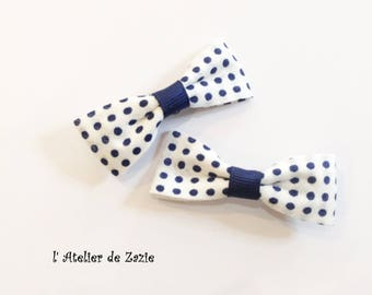 Hair bow clip on the bias with white cotton with blue dots Navy X 2
