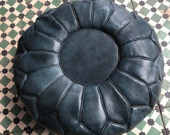 Best selling 50% OFF Pouf Sale//Tan Black Moroccan Leather Pouf with Tassels & Pompoms, Tabouret Moroccan Leather Pouf/Ottoman
