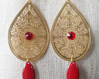 Earrings studs gold drop (drilled) red with Rhinestone