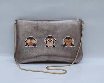 Bronze Italian leather evening bag with monkeys