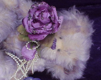 Pearly 7-inch Mohair Bear by Annette Funicello & Luckye Medford
