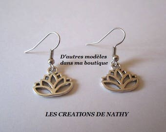 Stud Earrings in silver lotus flower pendant
