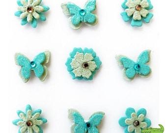 Decorative 3D butterfly, flowers, Pacific Blue, foam, 9 pieces, scrapbooking, 2 x 2 cm.