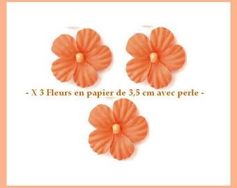 X 3 pretty flowers in foil neighborhood 3.5 cm - Orange - new
