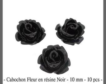 Resin cabochon flower black - 10 mm - 10 pcs - new