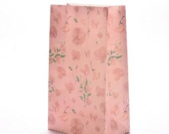 lot de 3 sacs cadeau papier motifs  Fleur Impression  couleur rose Kraft