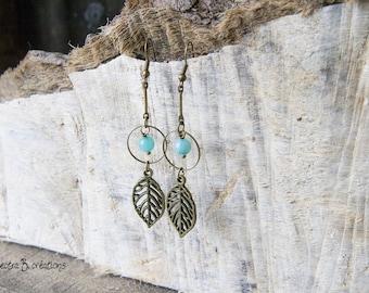 Earrings long Bohemian leaves thin stems mint blue jade