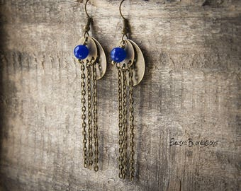 "Earrings ""Sara"", indigo blue jade, chains and sequins"