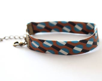 Blue and Brown geometric pattern fabric bracelet