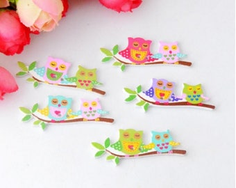 5 lovely Owl 2 holes of different colors wooden buttons