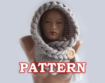 PATTERN Hooded Scarf, Scarf Hood, Chunky scarf, Scoodie, Instant Download, DIY