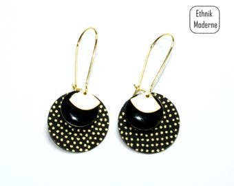 Earrings black Japanese paper with gold dots