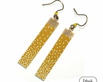 Earrings yellow mustard with polka dots