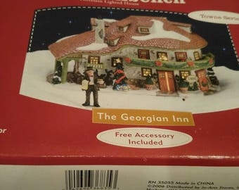Santa's Workbench LIGHTED GEORGIAN House with Figurines New In Box