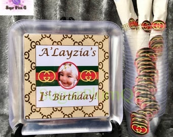 Customized Gucci 1st Birthday Photo Party Dinnerware Package | Plates, Cups, and Napkins with Utensils