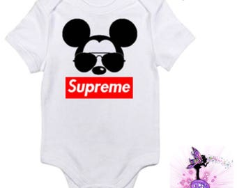Supreme Mickey Mouse with Aviator Sunglasses Baby Onesie or Supreme Babyshower Gift | First Birthday | Onesie for Boys | | Designer Inspired