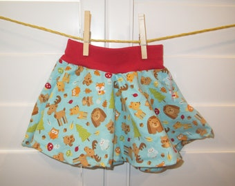 Forest Animals Bear, Fox, and Deer  Baby Skirt, Comfortable Circle Skirt, Size 12 months