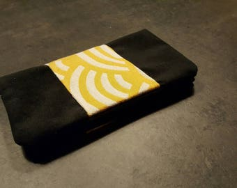 Trendy black faux suede checkbook and yellow Japanese fabric